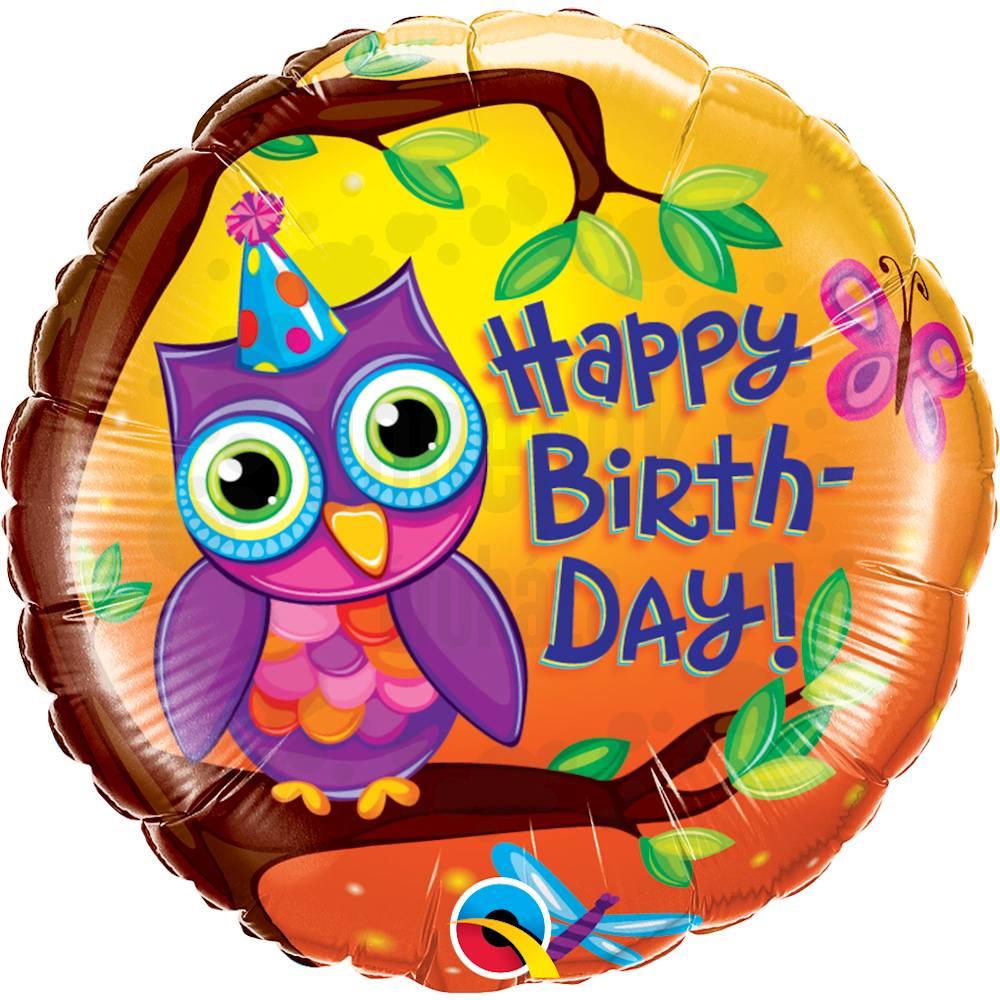 18 inch-es Birthday Owl - Bagoly Szülinapi Héliumos Fólia Lufi