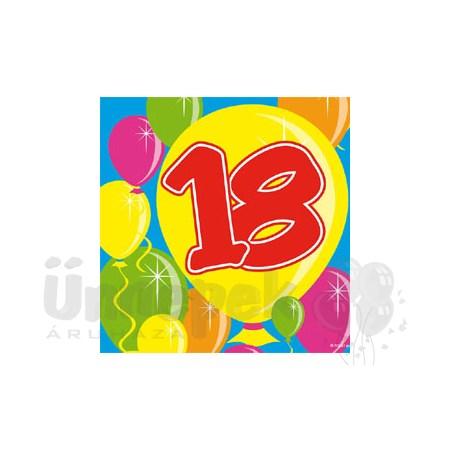 Balloons 18-as Számos Szülinapi Parti Szalvéta - 25 cm x 25 cm, 20 db-os