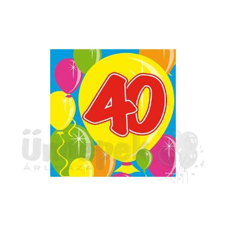 Balloons 40-es Számos Szülinapi Parti Szalvéta - 25 cm x 25 cm, 20 db-os