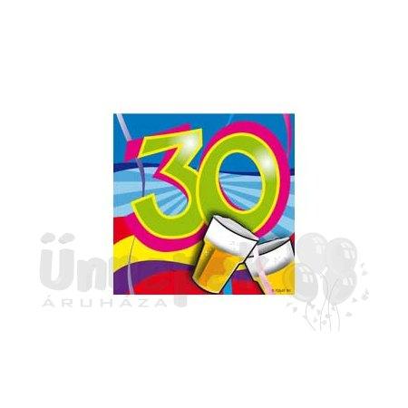 30-as Számos Színes Szülinapi Parti Szalvéta - 25 cm x 25 cm, 20 db-os