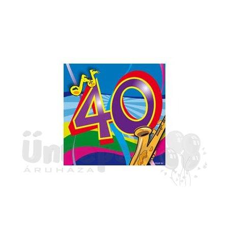 40-es Számos Színes Szülinapi Parti Szalvéta - 25 cm x 25 cm, 20 db-os