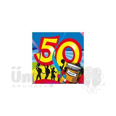 50-es Számos Színes Szülinapi Parti Szalvéta - 25 cm x 25 cm, 20 db-os
