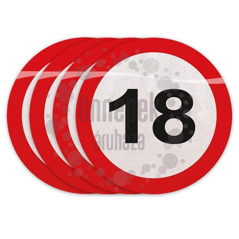 18-as Számos Sebességkorlátozó Szülinapi Parti Szalvéta - 30 cm, 20 db-os