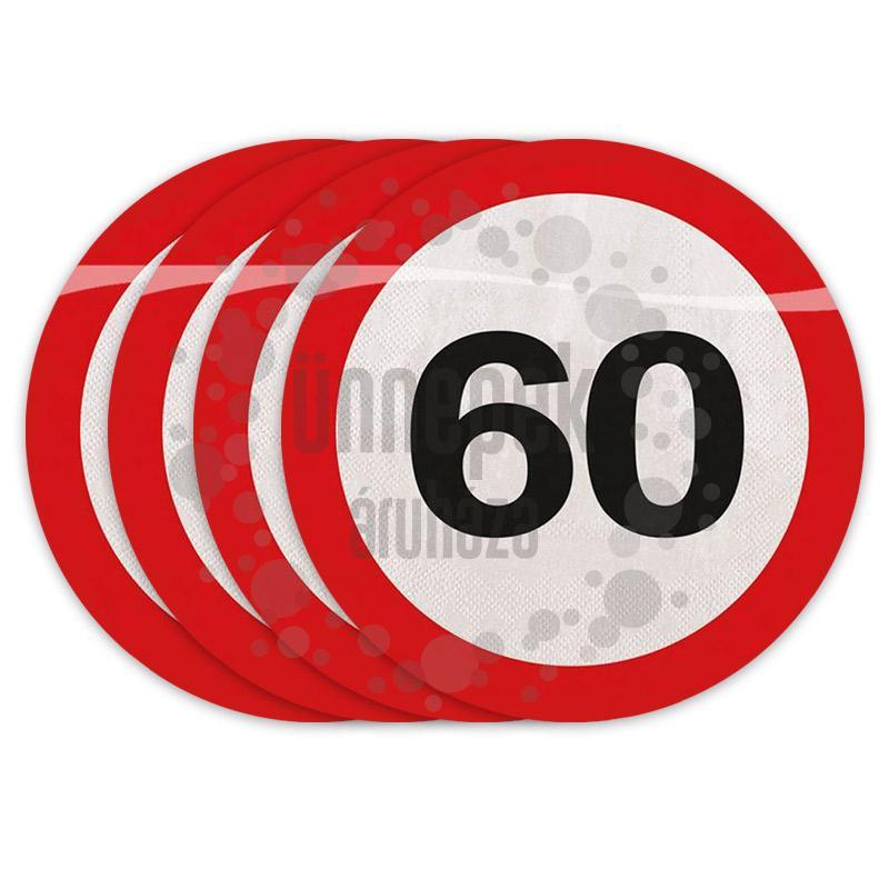 60-as Számos Sebességkorlátozó Szülinapi Parti Szalvéta - 30 cm, 20 db-os