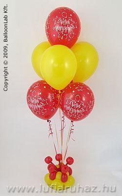 Boldog Születésnapot Yellow & Red Szülinapi Lufidekoráció