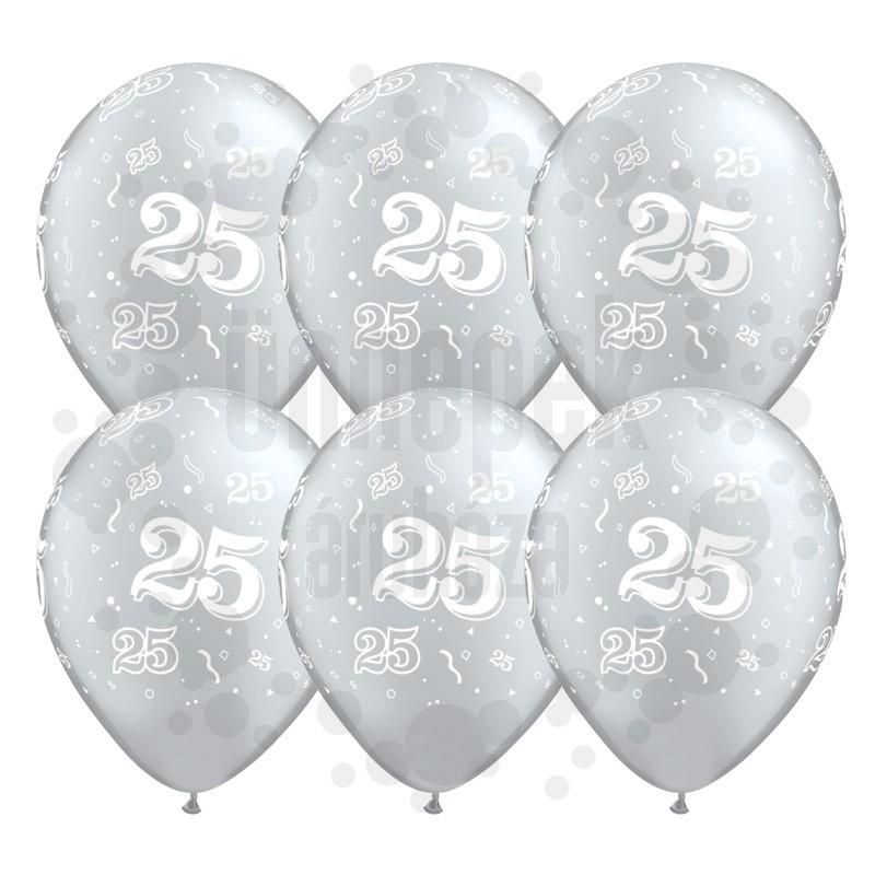 11 inch-es 25-ös printelt Metallic Silver Szülinapi Számos Lufi (25 db/csomag)