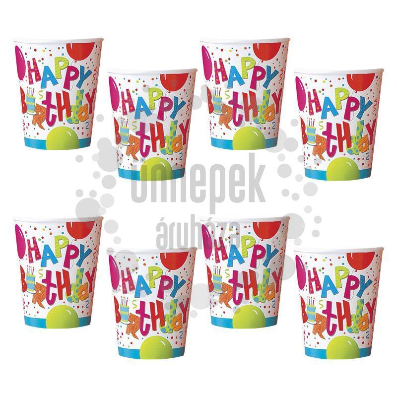 Birthday Jamboree Szülinapi Parti Pohár - 266 ml, 8 db-os
