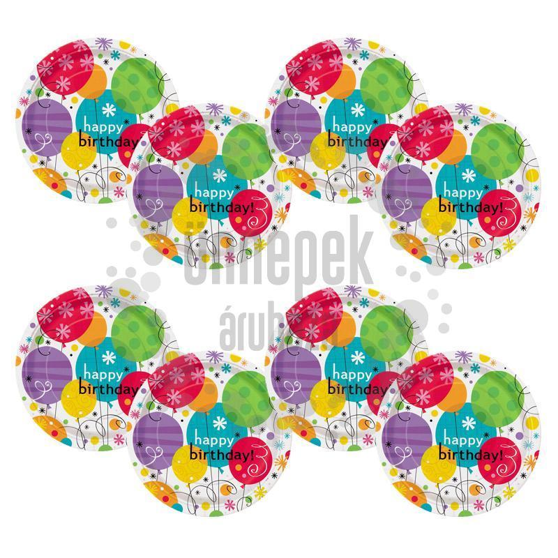 Breezy Birthday Szülinapi Parti Tányér - 23 cm, 8 db-os
