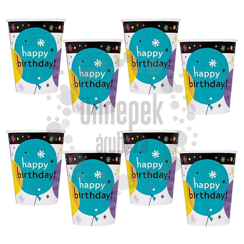 Breezy Birthday Szülinapi Parti Pohár - 266 ml, 8 db-os