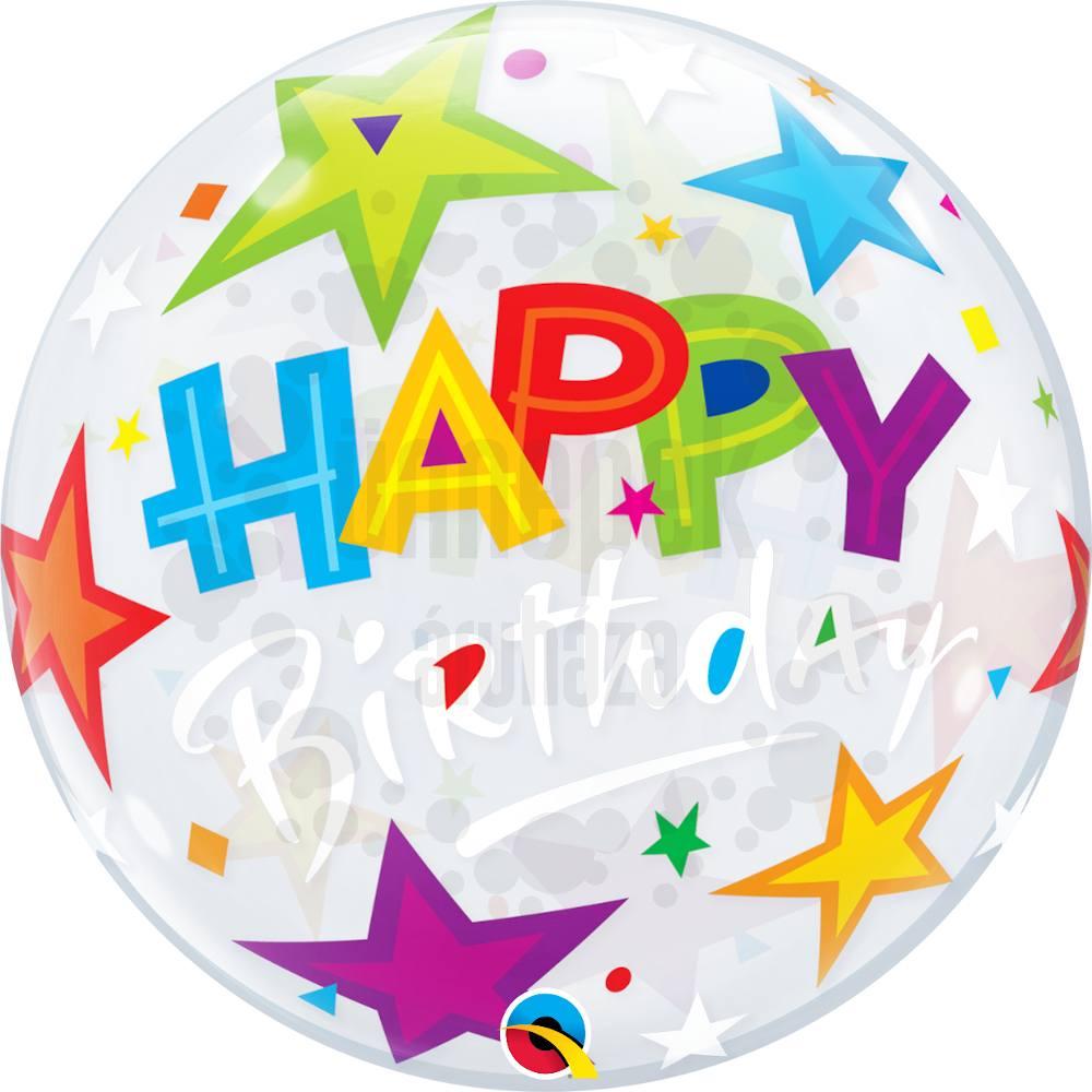 22 inch-es Birthday Brilliant Stars Szülinapi Héliumos Bubble Lufi