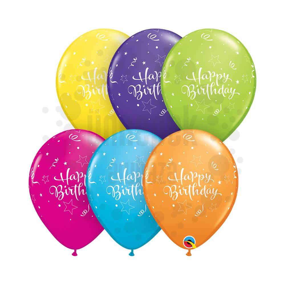 11 inch-es Birthday Shining Star Assortment Szülinapi Lufi (25 db/csomag)