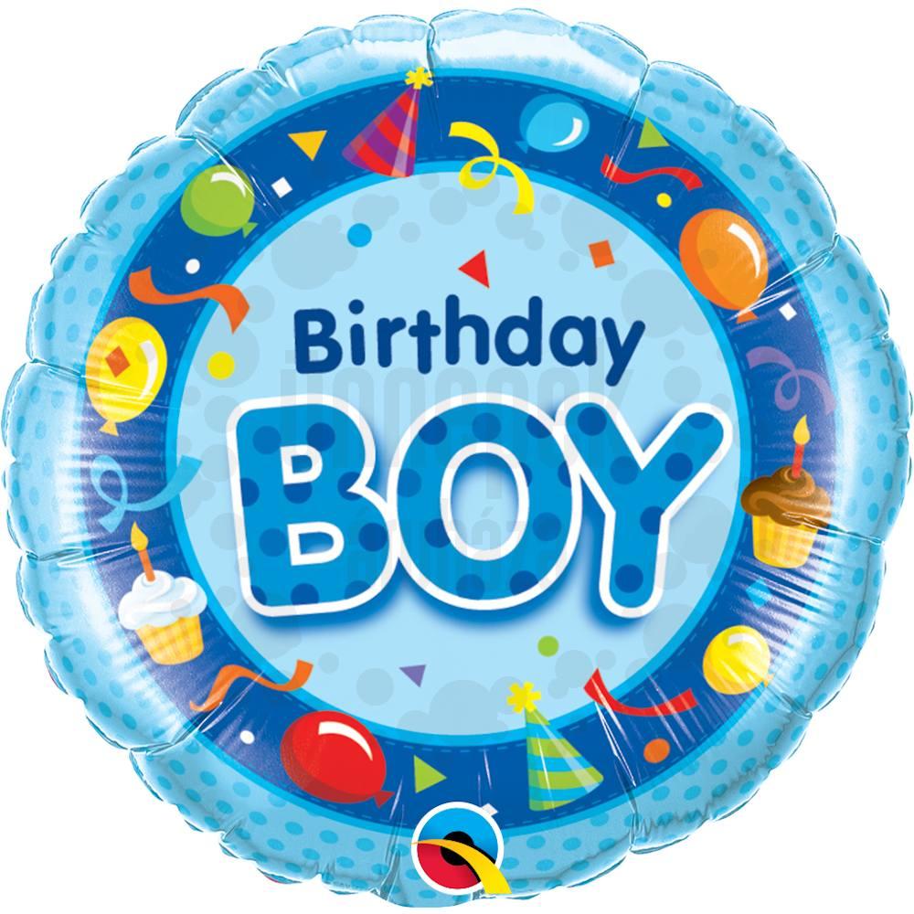 18 inch-es Szülinapos Fiú Kék - Birthday Boy Blue Szülinapi Héliumos Fólia Lufi