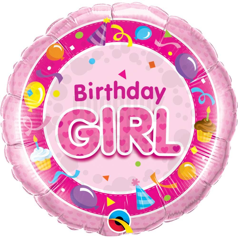 18 inch-es Rózsaszín - Birthday Girl Pink Szülinapi Héliumos Fólia Lufi