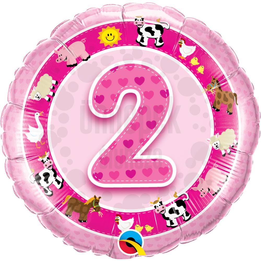 18 inch-es Age 2-es Pink Farm Animals 2. Szülinapi Számos Héliumos Fólia Lufi