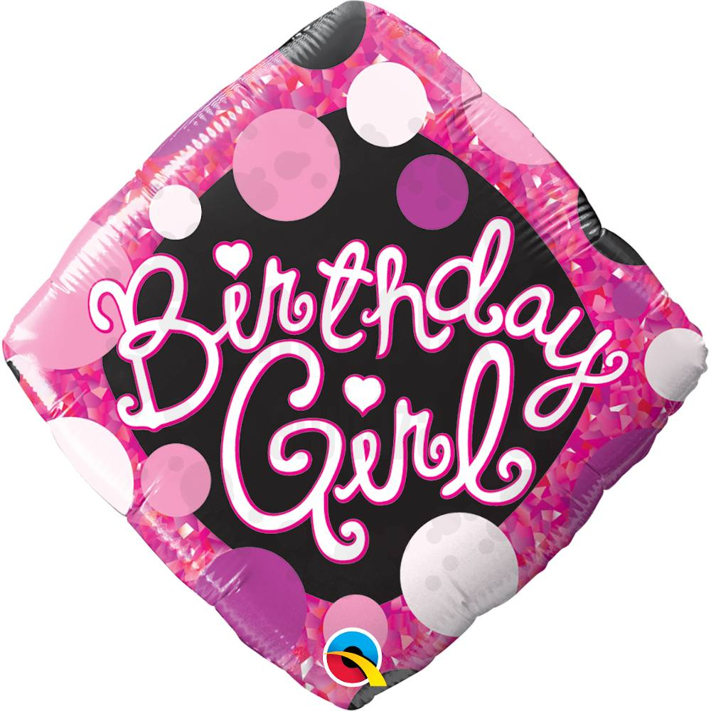 18 inch-es Birthday Girl Pink and Black Szülinapi Héliumos Fólia Lufi