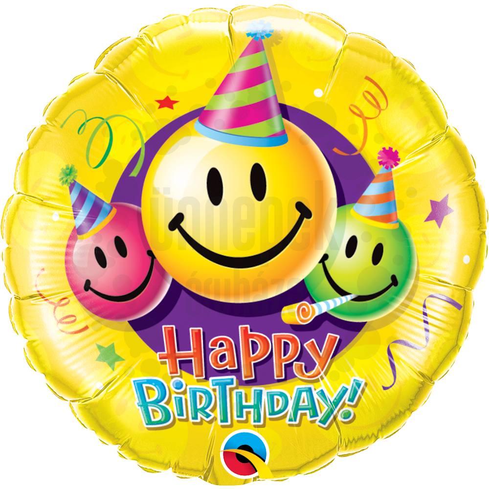 18 inch-es Mosolygó Arcok - Birthday Smile Faces Szülinapi Héliumos Fólia Lufi