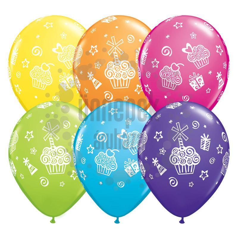 11 inch-es Cupcakes and Presents - Sütemények, Ajándékok Lufi (25 db/csomag)