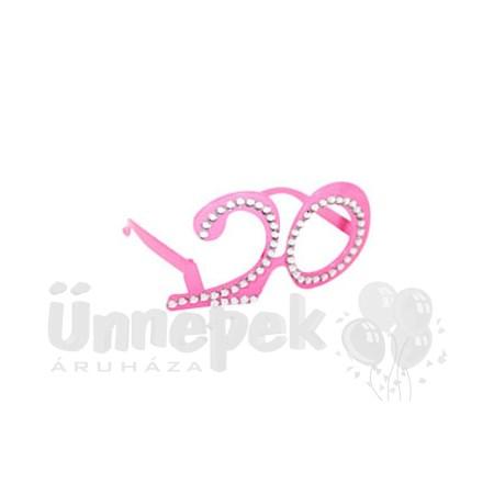 Rózsaszín 20-as Számos Szülinapi Parti Szemüveg
