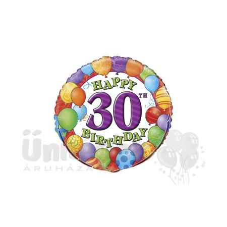 18 inch-es 30th Birthday Balloons - Léggömbös Szülinapi Számos Héliumos Fólia Lufi