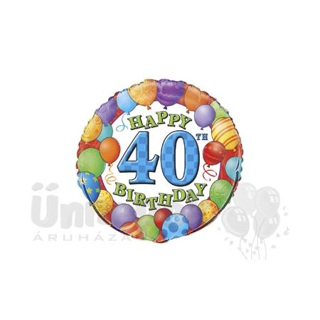 18 inch-es 40th Birthday Balloons - Léggömbös Szülinapi Számos Héliumos Fólia Lufi