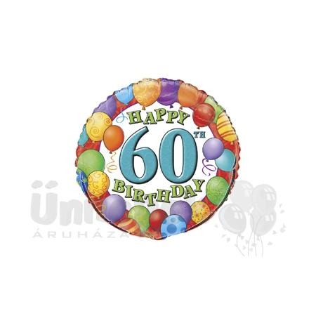 18 inch-es 60th Birthday Balloons - Léggömbös Szülinapi Számos Héliumos Fólia Lufi