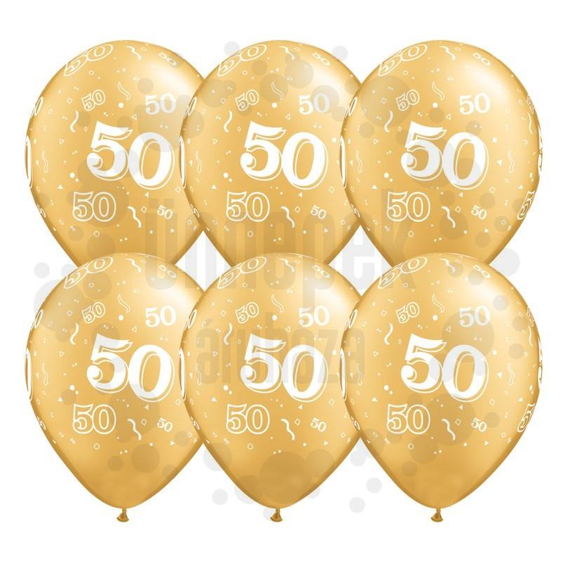11 inch-es 50-es printelt Metallic Gold Szülinapi Számos Lufi (25 db/csomag)