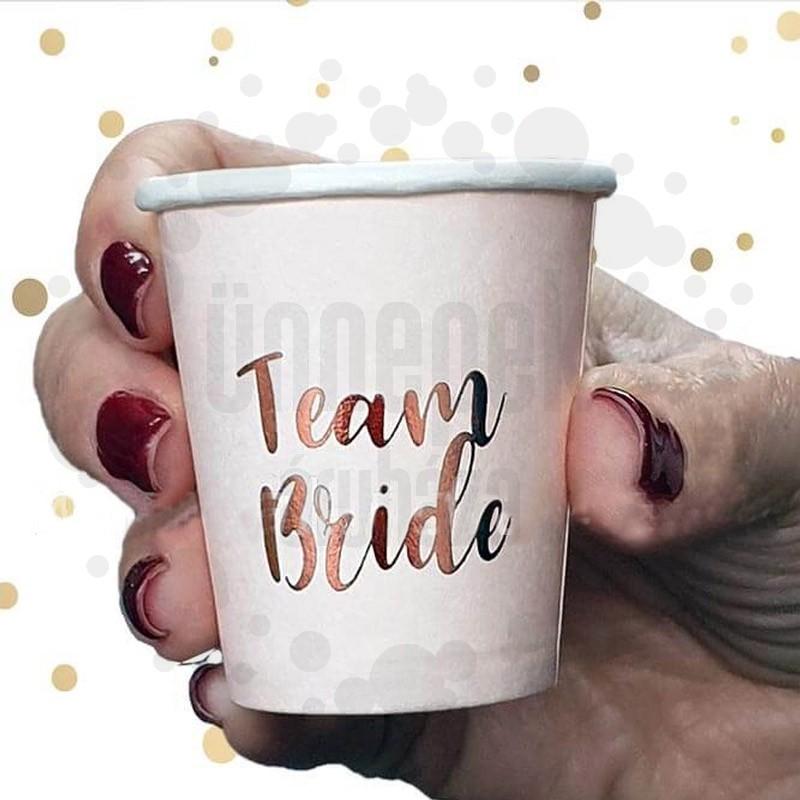 Team Bride Feliratú Feles Pohár Szett Lánybúcsúra - 10 db-os