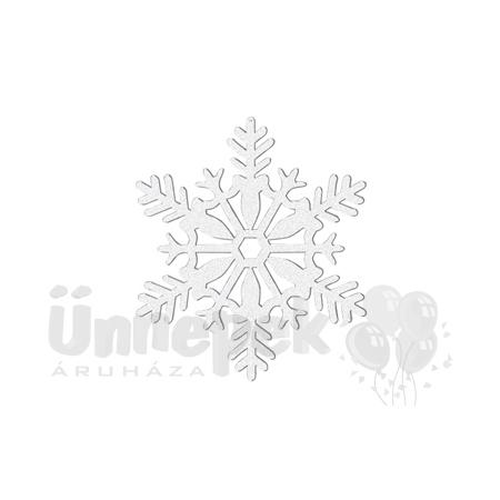 Fehér Glitteres Hópelyhek Függő Dekoráció - 10 cm, 4 db-os