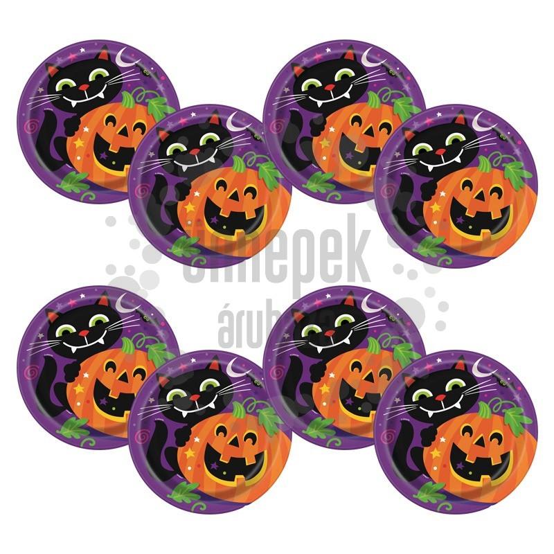 Tök és Fekete Macska Mintás Parti Tányér Halloween-re, 22 cm, 8 db
