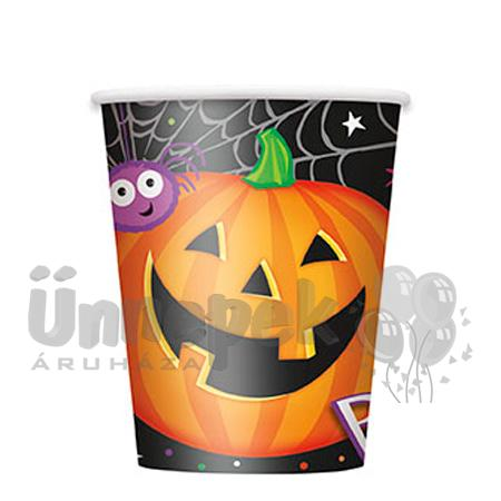 Pumpkin Pals - Tökfejes Parti Pohár Halloween-re - 270 ml, 8 db-os