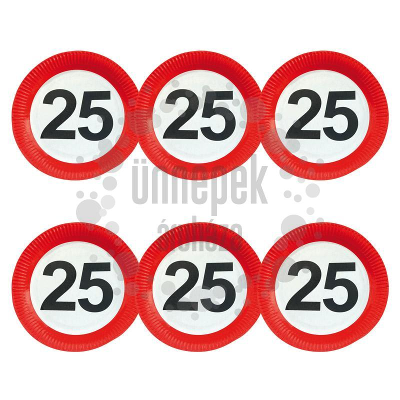 25-ös Sebességkorlátozó Számos Szülinapi Parti Tányér - 23 cm, 6 db-os