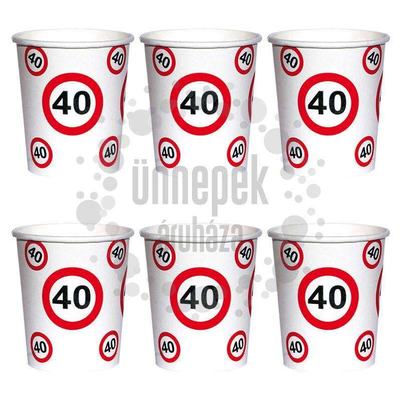 40-es Számos Sebességkorlátozó Szülinapi Papír Parti Pohár - 250 ml, 6 db-os