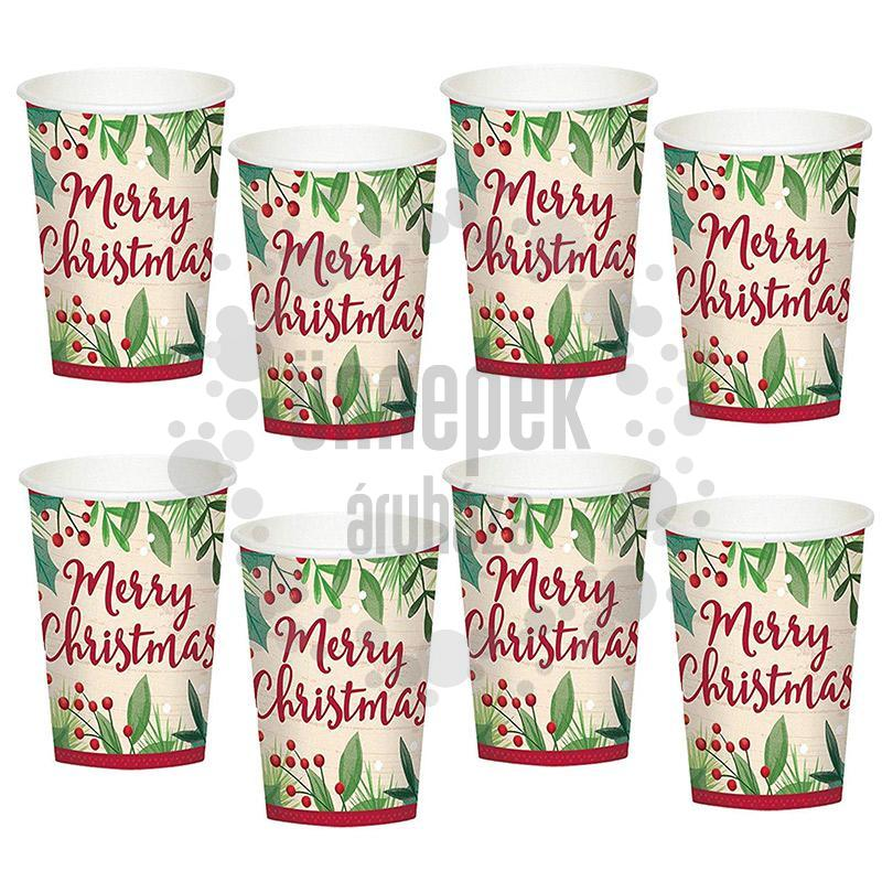 Karácsonyi - Merry Holly Day Christmas Parti Pohár - 266 ml, 8 db-os