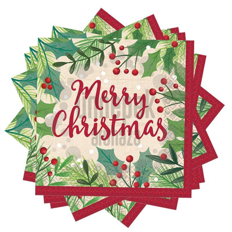 Karácsonyi - Merry Holly Day Christmas Parti Szalvéta - 33 cm x 33 cm, 16 db-os