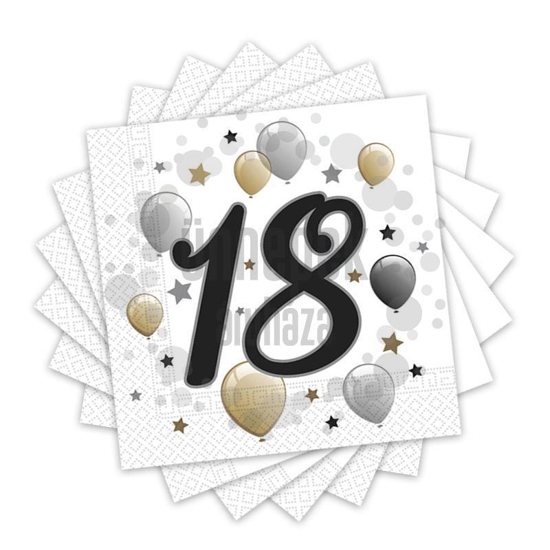 Elegáns Léggömbös 18-as Számos Szülinapi Party Szalvéta - 33 cm x 33 cm, 20 db-os