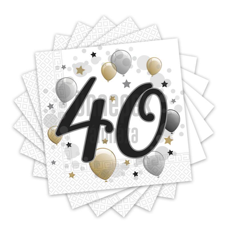 Elegáns Léggömbös 40-es Számos Szülinapi Party Szalvéta - 33 cm x 33 cm, 20 db-os