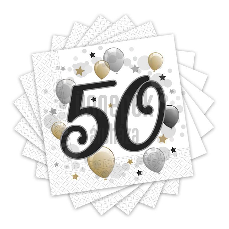 Elegáns Léggömbös 50-es Számos Szülinapi Party Szalvéta - 33 cm x 33 cm, 20 db-os