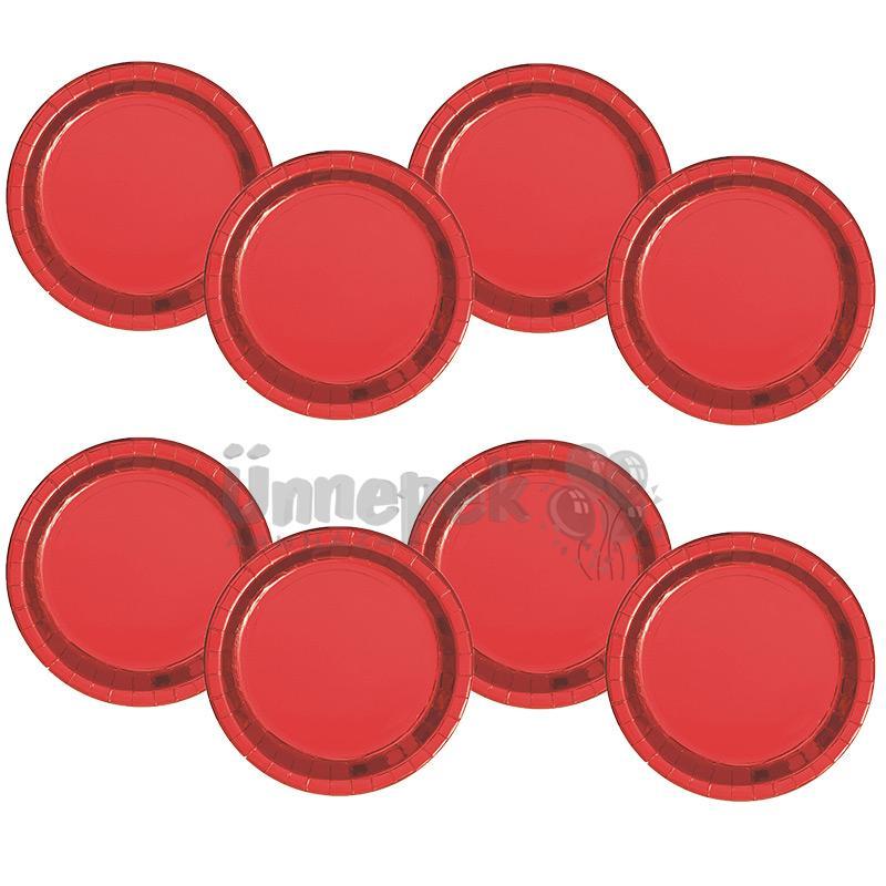 Fényes Piros Papír Tányér - 22 cm, 8 db-os