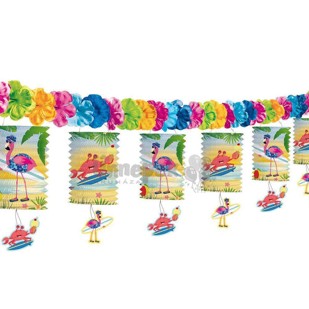 Nyaraló Flamingó Parti Lampionfüzér - 3,6 m