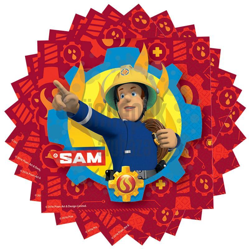 Fireman Sam - Tűzoltó Parti Szalvéta - 33 cm x 33 cm, 20 db-os