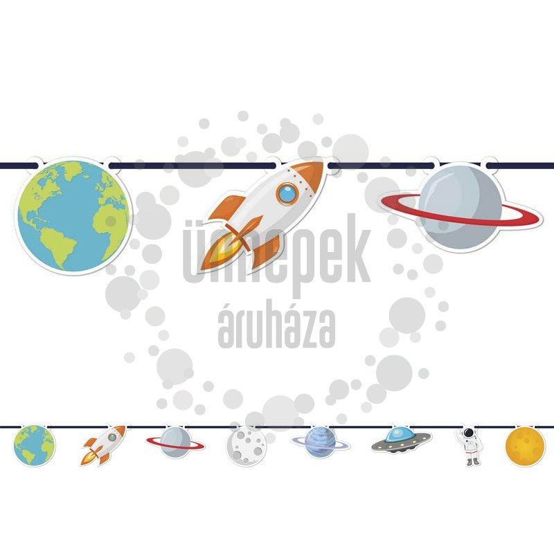 Űrhajós - Asztronauta Parti Dekorációs Füzér - 230 cm