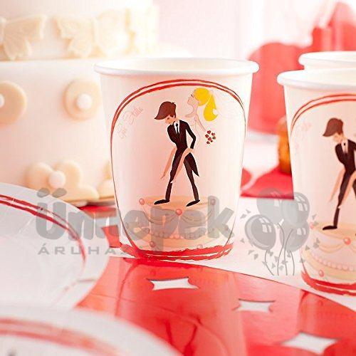 Vicces Esküvői Mintás Papír Parti Pohár Lánybúcsúra - 10 db-os, 250 ml