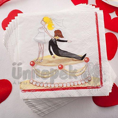 Vicces Esküvői Mintás Papír Parti Szalvéta Lánybúcsúra - 20 db-os, 33 cm x 33 cm