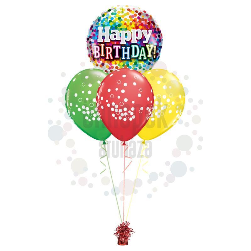 Vidám Konfettis Szülinap - Születésnapi léggömbcsokor