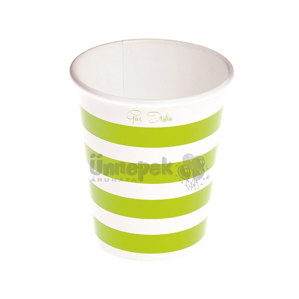 Zöld-Fehér Csíkos Papír Parti Pohár - 10 db-os, 250 ml