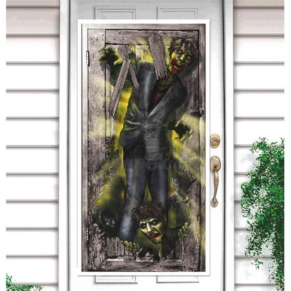 Zombi - Zombie Parti Ajtódekoráció Halloweenre - 165 cm x 85 cm