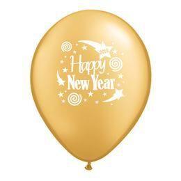11 inch-es Happy New Year 2017 Arany Szilveszteri Lufi (25 db/csomag)