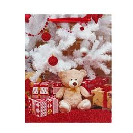 Maci és Ajándék Mintás Glitteres Karácsonyi Ajándéktasak