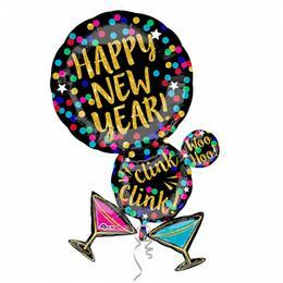 Martine Bubble Happy New Year Super Shape Fólia Lufi Szilveszterre