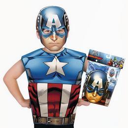 Amerika Kapitány Jelmezpóló és Maszk, 3-6 Éves Gyerekeknek